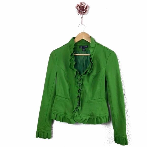 INC International Concepts Jackets & Blazers - INC Green Ruffle Collar Front Zipper Jacket